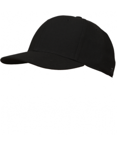 K02SB - Black Fitted Base Hat - 6 Stitch